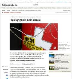 """""""Die Schweiz hat sich in dieser Frage in zwei Hälften gespalten"""", schreibt die """"Süddeutsche Zeitung"""" . Doch auch wenn das Ergebnis denkbar knapp ausfiel - es ist ein Erfolg der Gegner der """"Masseneinwanderung"""". (Bild: Screenshot)"""