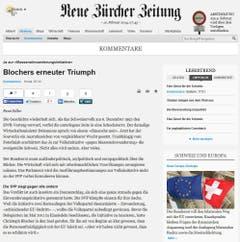 Der verbale Brückenschlag zum EWR-Nein im Jahre 1992 ist allgegenwärtig. «Das Ja zur Masseneinwanderungsinitiative stellt eine Zäsur dar, die vergleichbar ist mit jener vom 6. Dezember 1992», schreibt die «Neue Zürcher Zeitung». (Bild: Screenshot)