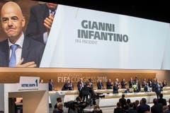 Der Oberwalliser Gianni Infantino ist soeben zum Fifa-Präsidenten gewählt worden. (Bild: Keystone/Patrick B. Kraemer)
