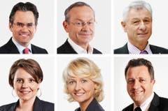 WAADT (2/3) - (obere Reihe von links) Olivier Feller (bisher), FDP; Olivier Francais (bisher), FDP; Jean-Pierre Grin (bisher), SVP. (untere Reihe von links) Ada Marra (bisher), SP; Isabelle Moret (bisher), FDP; Jacques Nicolet (neu), SVP. (Bild: Keystone / Handout)