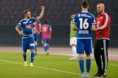 Jakob Jantscher freut sich über seinen Treffer. (Bild: Keystone/Anthony Anex)