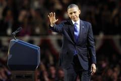 Barack Obama winkt nach der Rede seinen Anhängern zu. (Bild: Keystone)