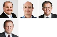 LUZERN (2/2) - (obere Reihe von links) Felix Müri (bisher), SVP; Louis Schelbert (bisher), Grüne; Peter Schilliger (bisher), FDP. (untere Reihe): Albert Vitali (bisher), FDP. (Bild: Keystone / Handout)