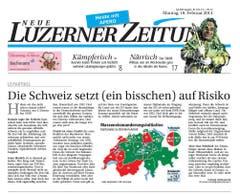 Risiko steht im Kommentartitel der «Neuen Luzerner Zeitung». «Die Mehrheit wünscht simpel mehr Augenmass bei der Einwanderung, und sie nimmt dafür Risiken in Kauf.» (Bild: Screenshot)