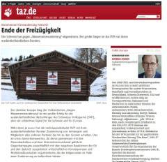 """Die """"taz.de"""" (Tageszeitung) rechnet mit folgendem Szenario: Als Reaktion auf das Abstimmungsergebnis wird die Europäische Union möglicherweise die für Mittwoch angesetzte Unterzeichnung zweier neuer bilateraler Abkommen mit der Schweiz zunächst einmal verschieben. (Bild: Screenshot)"""