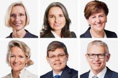 LUZERN (1/2) - (obere Reihe von links) Prisca Birrer-Heimo (bisher), SP; Yvette Estermann (bisher), SVP; Ida Glanzmann-Hunkeler (bisher), CVP. (untere Reihe von links) Andrea Gmür (neu), CVP; Franz Grüter (neu), SVP; Leo Müller (bisher), CVP. (Bild: Keystone / Handout)