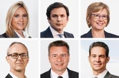 GENF (1/2) - (obere Reihe von links) Celine Amaudruz (bisher), SVP; Gauillaume Barazzone (bisher), CVP; Laurence Fehlmann (neu), SP. (untere Reihe von links) Benoit Genecand (neu), FDP; Roger Golay (bisher), MCG; Hugues Hiltpold (bisher), FDP. (Bild: Keystone / Handout)