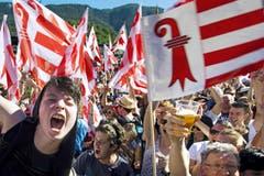 SWISS PRESS PHOTO 18 - 2. PREIS AKTUALITÄT: JEAN-CHRISTOPHE BOTT - Am 18. Juni feiern die Pro-Jurassier in Moutier die Abspaltung vom Kanton Bern. (Bild: (SWISS PRESS PHOTO/Jean-Christophe Bott fuer KEYSTONE)