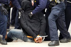 Dieser Demonstrant ist verhaftet. (Bild: AP Photo / Jose Luis Magana)