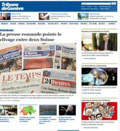 Schwierige Verhandlungen mit der EU prophezeien nun die Westschweizer Zeitungen. Eine «schallende Ohrfeige für Europa» nennt etwa die «Tribune de Genève» die Rückkehr der Schweiz zur Kontingentierung. (Bild: Screenshot)
