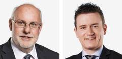 NEUENBURG - Didier Berberat (bisher), SP, links, und Raphael Comte (bisher), FDP (Bild: Keystone / Handout)