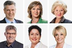 BASEL-LANDSCHAFT (1/2) - (obere Reihe von links) Thomas De Courten (bisher), SVP; Maya Graf (bisher), Gruene; Susanne Leutenegger Oberholzer (bisher), SP. (untere Reihe von links) Eric Nussbaumer (bisher), SP; Daniela Schneeberger (bisher), FDP; Elisabeth Schneider-Schneiter. (Bild: Keystone / Handout)