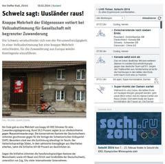 """""""Uusländer raus!"""" titelte die sozialistische Tageszeitung """"Neues Deutschland"""" ihren Online-Bericht. """"Die Schweizer werden wieder eine Gesellschaft mit begrenzter Zuwanderung."""" (Bild: Screenshot)"""