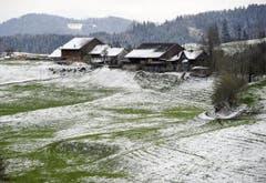Verschneiter Bauernhof. (Bild: Keystone)