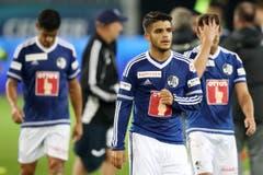 Enttäuschung bei Luzerns Ricardo Costa, Francisco Rodriguez und Jerome Thiesson (vlnr). (Bild: Philipp Schmidli / Luzerner Zeitung)