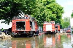 Auf der rechten Elbseite an der Zollstrasse in Magdeburg ist das Wasser bereits über den Deich geschwappt. Die Feuerwehr versucht mit Pumpen, das Wasser zurück in die Elbe zu befördern. (Bild: Keystone)