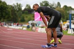 Da das Rennen logischerweise nicht gewertet werden konnte, musste Vicault wenige Minuten später nochmals antreten. Dabei setzte er sich bei einem Gegenwind von 0,6 m/s in 10,08 Sekunden erneut durch. Der Basler Alex Wilson belegte mit 10,50 Sekunden den 6. Platz. (Bild: Philipp Schmidli)