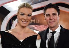 Vor kurzem zurückgetreten: Die deutsche Skirennfahrerin Maria Höfl-Riesch mit ihrem Mann. (Bild: Keystone)