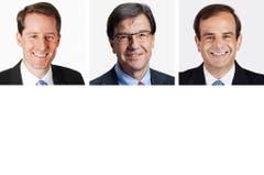 ZUG - (obere Reihe von links) Thomas Aeschi (bisher), SVP; Bruno Pezzatti (bisher), FDP; Gerhard Pfister (bisher), CVP. (Bild: Keystone / Handout)
