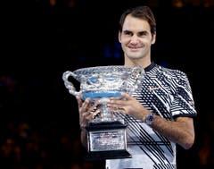 18. Grand Slam-Titel: Der stolze Roger Federer. (Bild: Keystone)