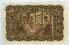 Die Rückseite der 500er-Note zieren Handstickerinnen. (Bild: Archiv der SNB)