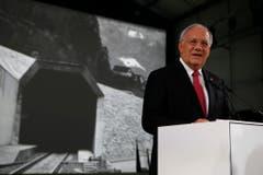 Bundesrat Johann Schneider Ammann hält eine Rede anlässlich der Eröffnungsfeier. (Bild: ALEXANDRA WEY (KEYSTONE))