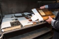 Festgebunden um Deformationen zu vermeiden: Die getrockneten Archivbestände. (Bild: Urs Lindt)