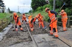 Auch hier werden viele Hände gebraucht: Aufräumarbeiten bei den Gleisen in Kradolf. (Bild: Nana do Carmo)