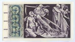 Auf der Rückseite ist der Totentanz abgebildet. Die Noten wurden per 1. Mai 1980 zurückgerufen. (Bild: Archiv der SNB)
