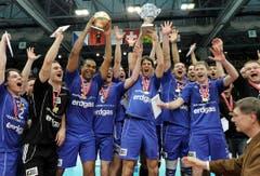 Volley Amriswil hat den Schweizer Cup zum dritten Mal gewonnen. (Bild: Keystone)