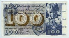 Ein Knabenkopf auf der Vorderseite der 100er-Note... (Bild: Archiv der SNB)