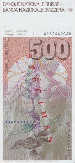 Auf der Rückseite sind eine Muskelfigur, ein Schema über Atmung und Blutkreislauf sowie eine Purpur-Orchis abgebildet. (Bild: Archiv der SNB)