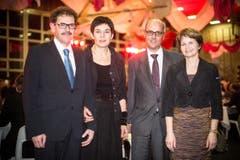 Aus der Jugendliebe wurde eine Ehe: SVP-Regierungsrat Jakob Stark mit Ehefrau Cornelia, CVP-Ständerätin Brigitte Häberli mit Ehemann Heinz. (Bild: Benjamin Manser)