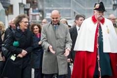 Bundesrat Alain Berset beehrte St.Gallen aus Anlass des Jubiläums «1400 Jahre Gallus» mit seiner Anwesenheit. (Bild: Urs Bucher)