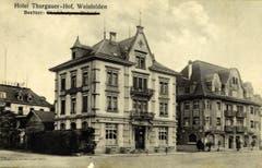 Das Restaurant Thurgauerhof direkt am Bahnhof auf der Nordseite. Um 1915. (Bild: Archiv Martin Sax)