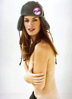 Neckisch: Mit dieser Aufnahme warb Cindy Crawford gegen das Tragen von Pelzen. (Bild: Keystone)