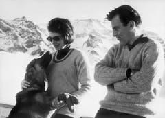 Drei Jahre lang war Maximilian Schell mit Soraya, der Gattin des letzten Schahs von Persien, liiert. Die Aufnahme wurde in Adelboden im Januar 1964 gemacht. (Bild: Keystone)