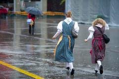 Der Wettergott meinte es nicht gut mit dem St.Galler Musikfest - sowohl am Samstag wie auch am Sonntag goss es teils wie aus Kübeln. (Bild: Michel Canonica)