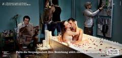 Thematisiert wird die sexuelle Vergangenheit: Auf Plakaten sind Paare in Schlaf- oder Badezimmern abgebildet, umgeben von früheren Partnerinnen und Partnern, wie am 16. April 2007 vom BAG bekannt gegeben wurde. (Bild: Keystone)