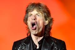 Ein Mund - eine Marke. Mick Jagger vor der roten Videofläche im Letzigrund. (Bild: WALTER BIERI (EPA KEYSTONE))