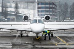WEF-Hochbetrieb auf dem Flugplatz Altenrhein: Medienrundgang (Bild: Michel Canonica)
