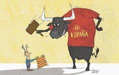 Zum Referendum über die Unabhängigkeit von Spanien: katalanische Provokation (24. September 2017). (Bild: Tom Werner)