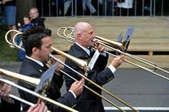 Musiker an der Rorschacherstrasse. (Bild: Hanspeter Schiess)