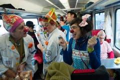 Im Extrazug reisten die Spitalclowns durch die Schweiz. (Bild: Keystone)
