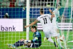 Goran Karanovic jubelt nach seinem Treffer zum 1:0. (Bild: Michel Canonica)