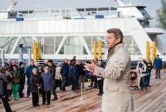 Benno Gmür, Delegierter des Verwaltungsrats der Bodensee Schifffahrt, führte durch den Anlass. (Bild: Reto Martin)