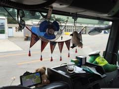 Fähnchen, ein Ventilator, Stofftiere: Die Führerkabine eines ausländischen Lasters, der in Oberbüren aus dem Verkehr gezogen wurde. (Bild: Kantonspolizei St.Gallen)