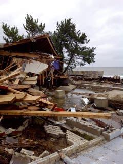Ein zerstörtes Haus an der Küste bei Coney Island. (Bild: Keystone)