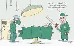 Weil sich die Tarifpartner nicht einig wurden: Bundesrat Alain Berset gibt den Ärztetarif durch (26. März 2017). (Bild: Tom Werner)