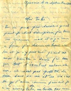 1946 schrieb Edith Piaf diesen Liebesbrief an den griechischen Schauspieler Dimitris Horn. Die Liebe der französischen Sängerin blieb allerdings unerfüllt - Horn heiratete eine andere. (Bild: Keystone)